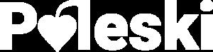 """Logo. Biały napis: """"Poleski"""". Litera """"O"""" w kształcie serca."""